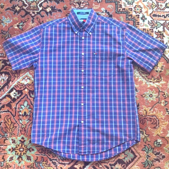 Tommy Hilfiger Men/'s Blue//White Cotton Short Sleeves Button-Down Plaid Shirt